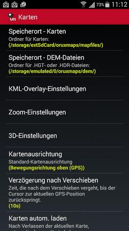 Oruxmaps Speicherort - Karten