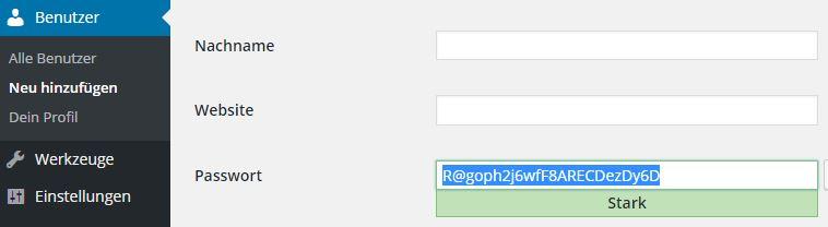 Sicheres WordPress Passwort vergeben