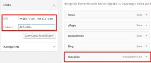 Wordpress externe Seite verlinken