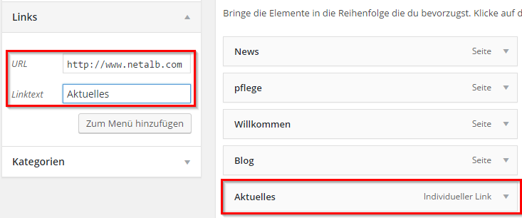 Wordpress externe Seite verlinken
