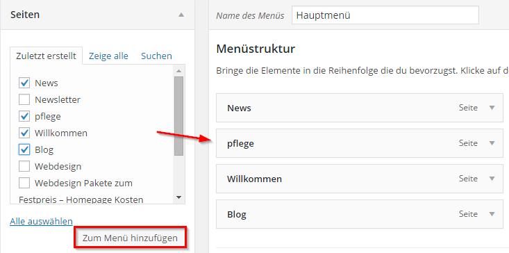 Wordpress Menü hinzufügen