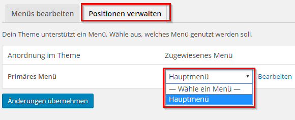 Wordpress Menü position
