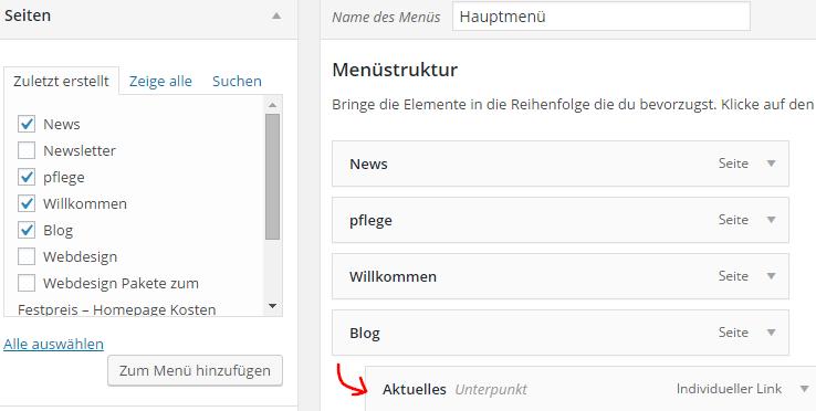 Wordpress Untermenü erstellen