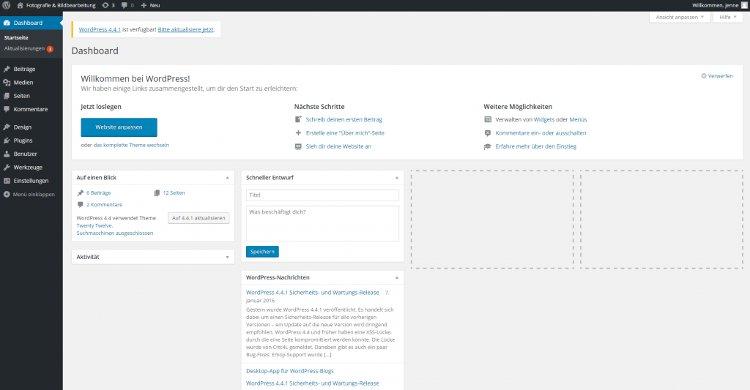 Benutzergruppen Abonnent das WordPress Dashboard