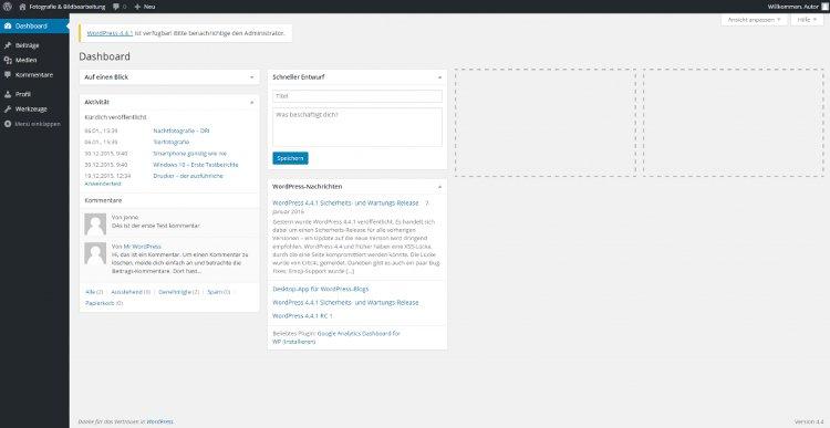 Autor und Benutzergruppen das WordPress Dashboard