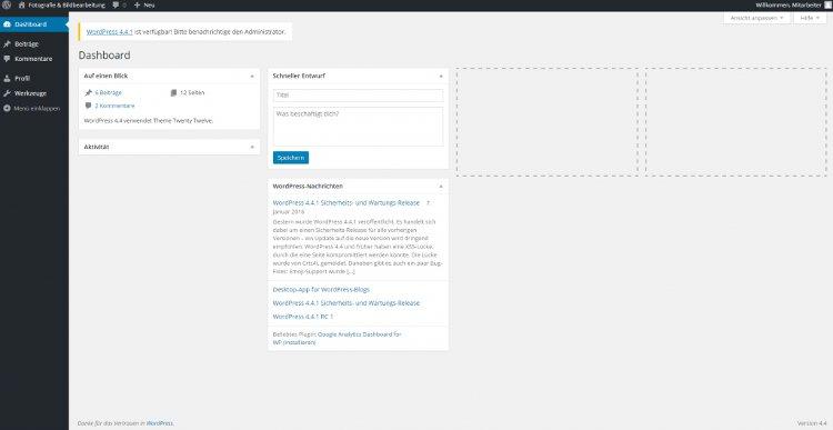 Mitarbeiter das WordPress Dashboard