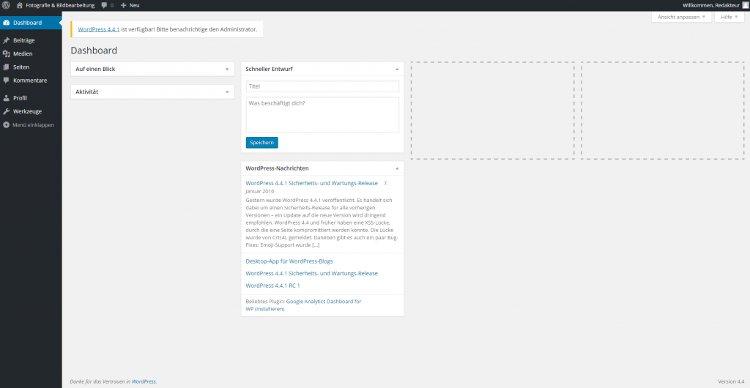 Redakteur und Benutzergruppen - das WordPress Dashboard